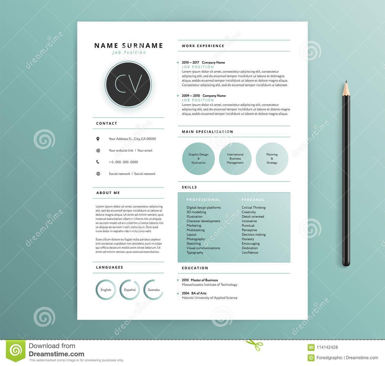 resume    cv template design - nature feel green color - vector s stock vector