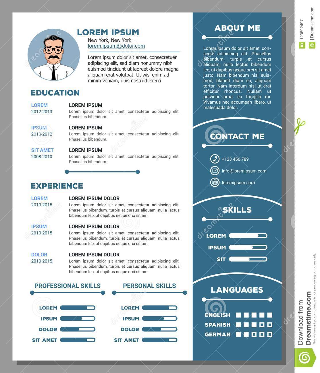 Resume And Cv Template With Nice Design Stock Vector