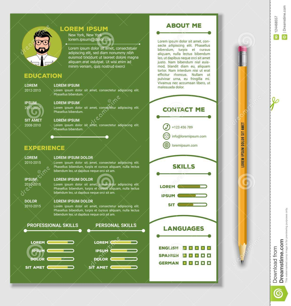 resume and cv template with nice minimalist design and realistic