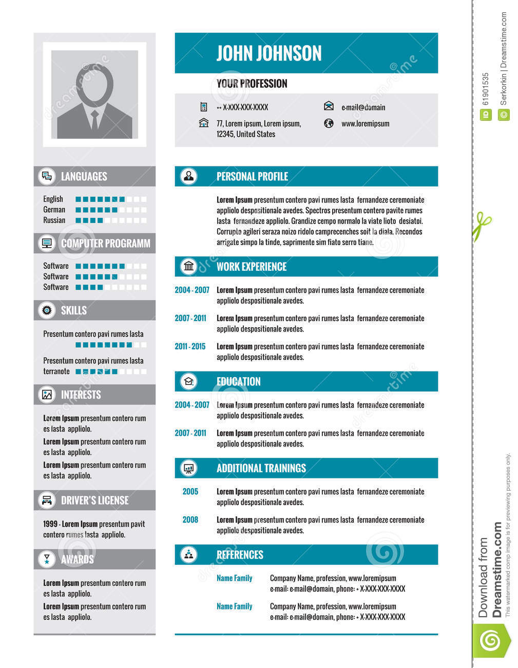 Resume - CV - vector concept layout in A4 format. Business resume ...