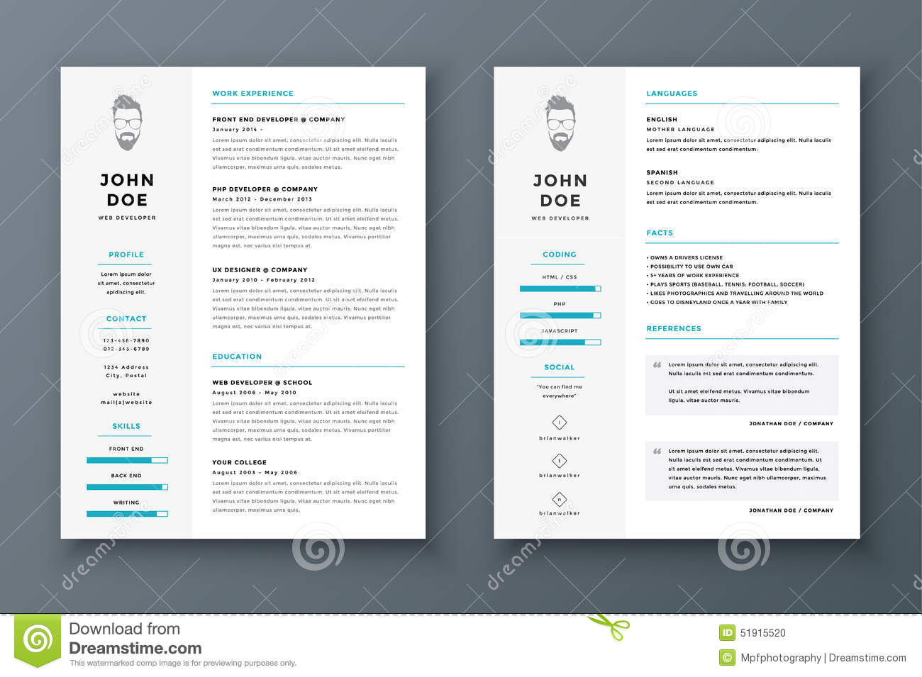 resume and cv vector template  awesome for job applications  stock vector