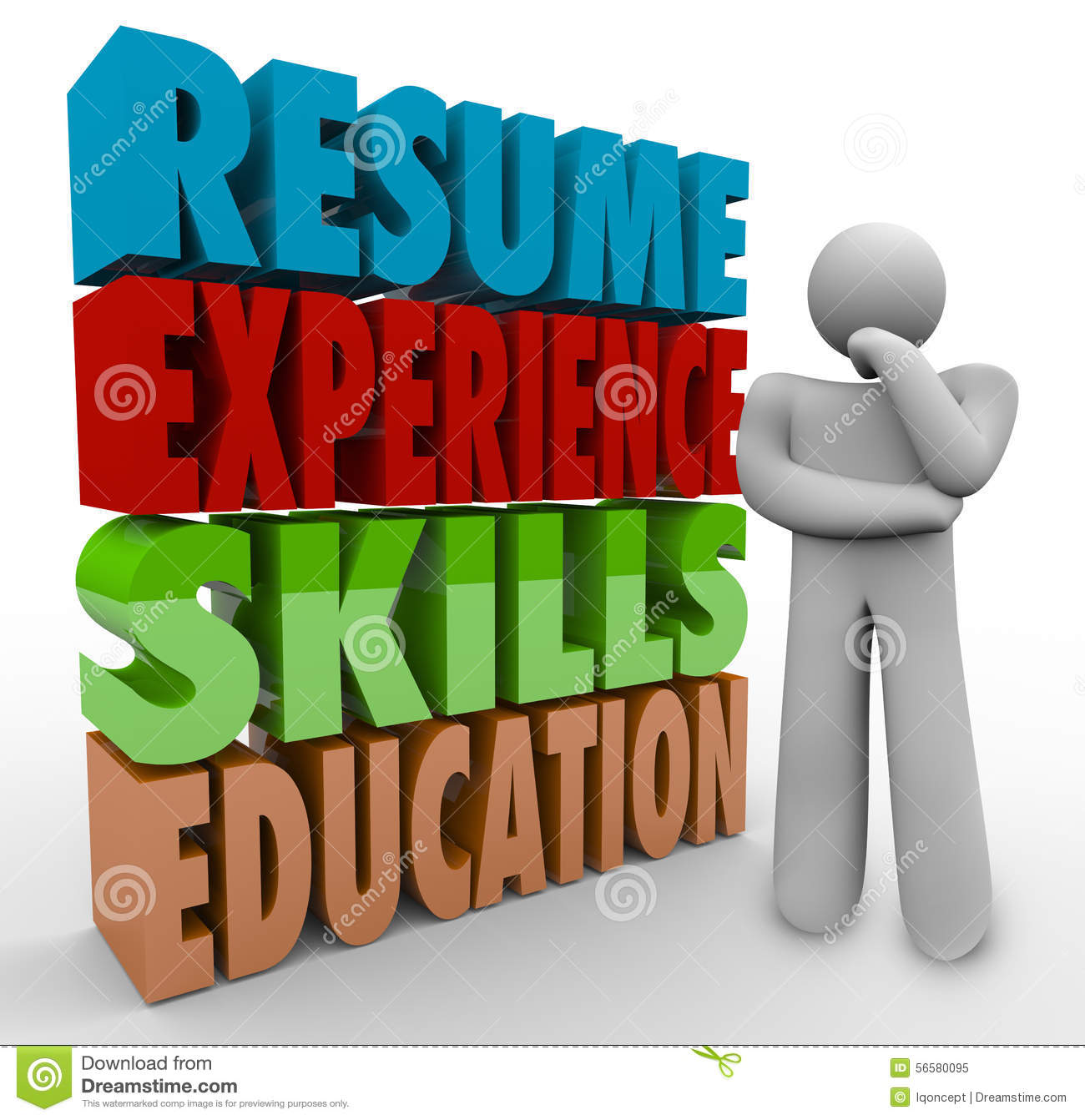 resume experience skills education thinker applying job qualifications stock illustration
