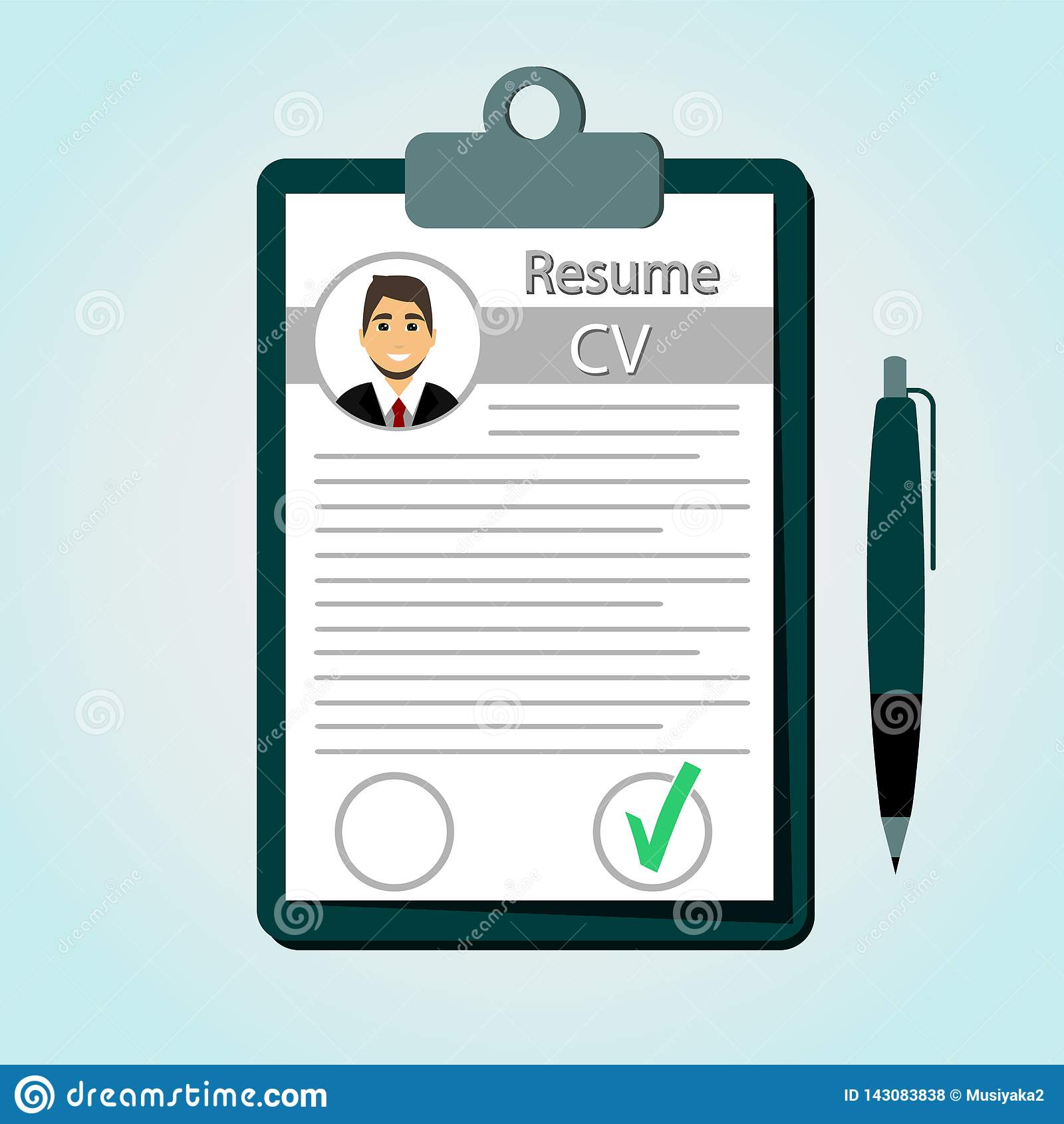 resume in a flat style  check resume  cv stock illustration