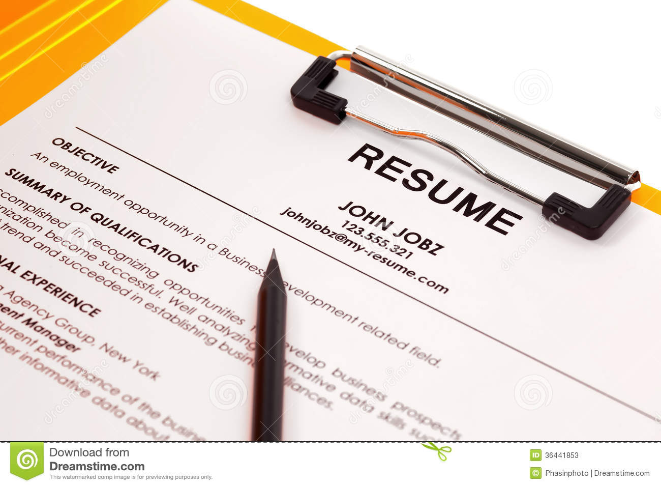 resume in folder stock photos