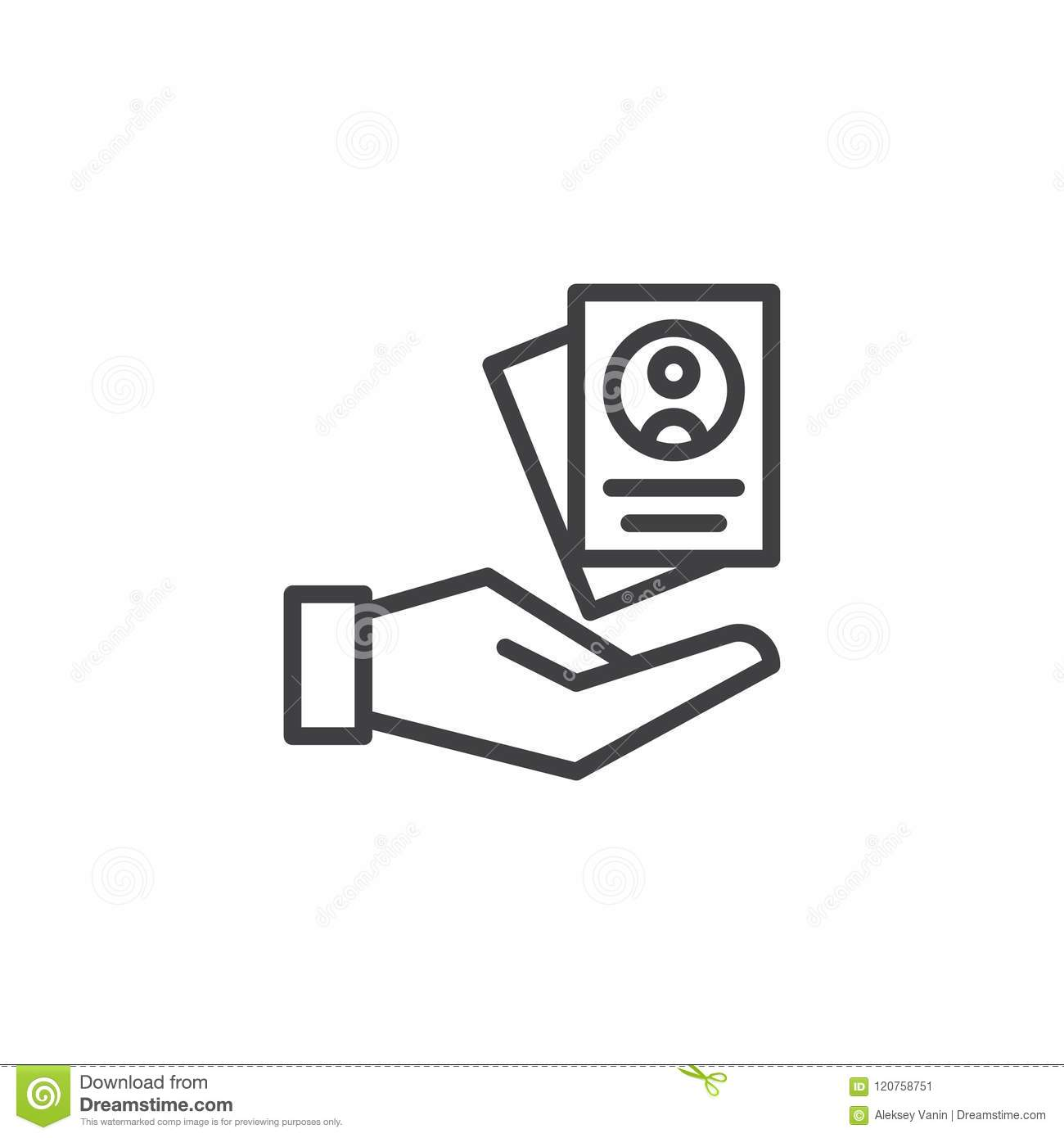 Resume Form In Hand Outline Icon Stock Vector - Illustration of ...