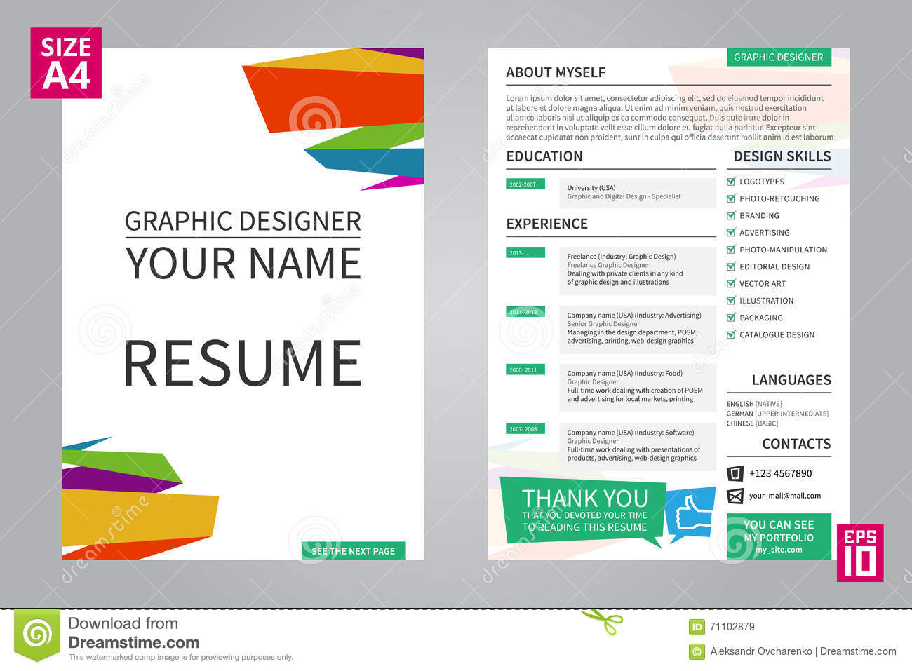 resume graphic designer stock vector  illustration of hiring