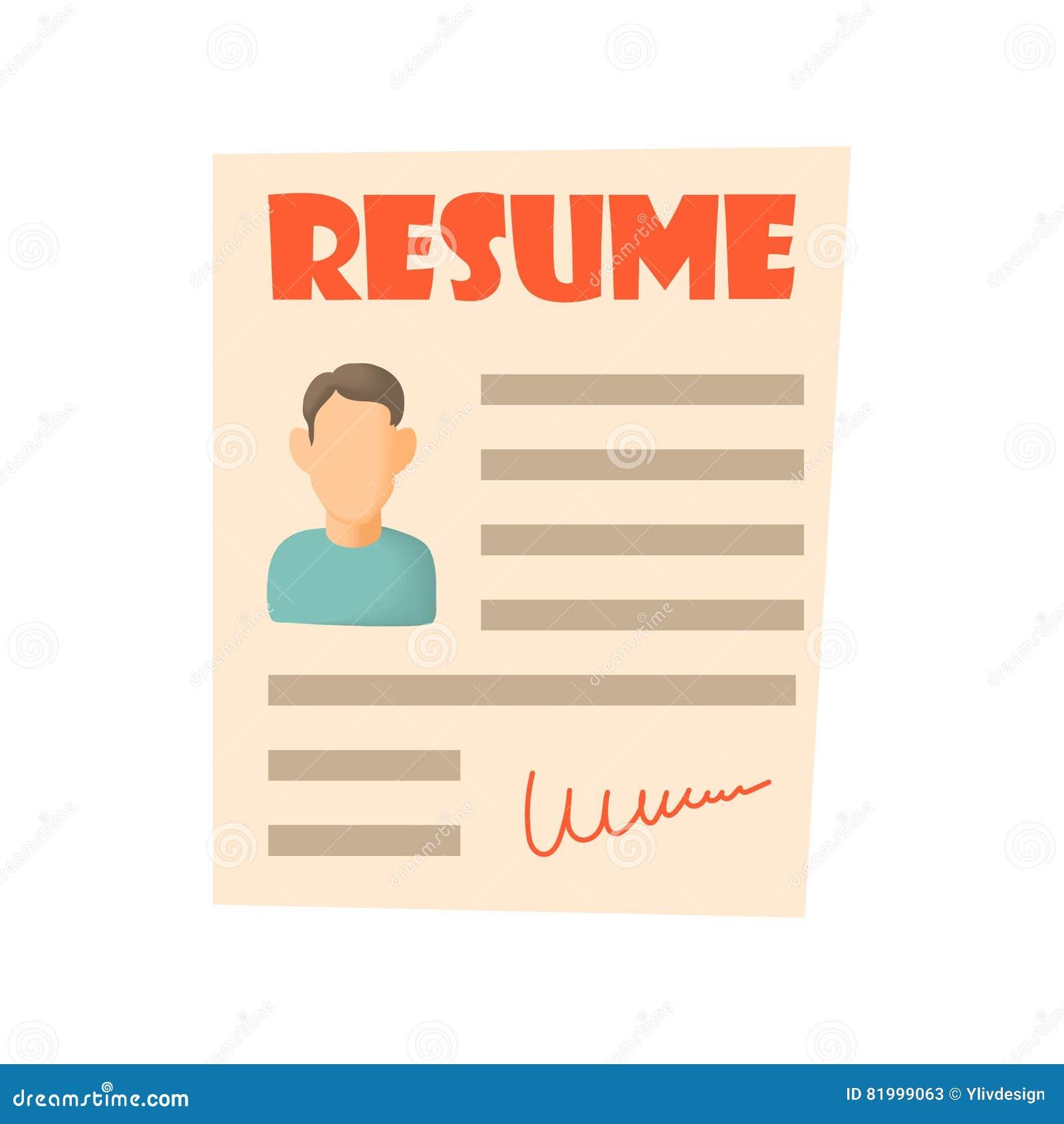 Resume Icon Cartoon Style Stock Vector Illustration Of