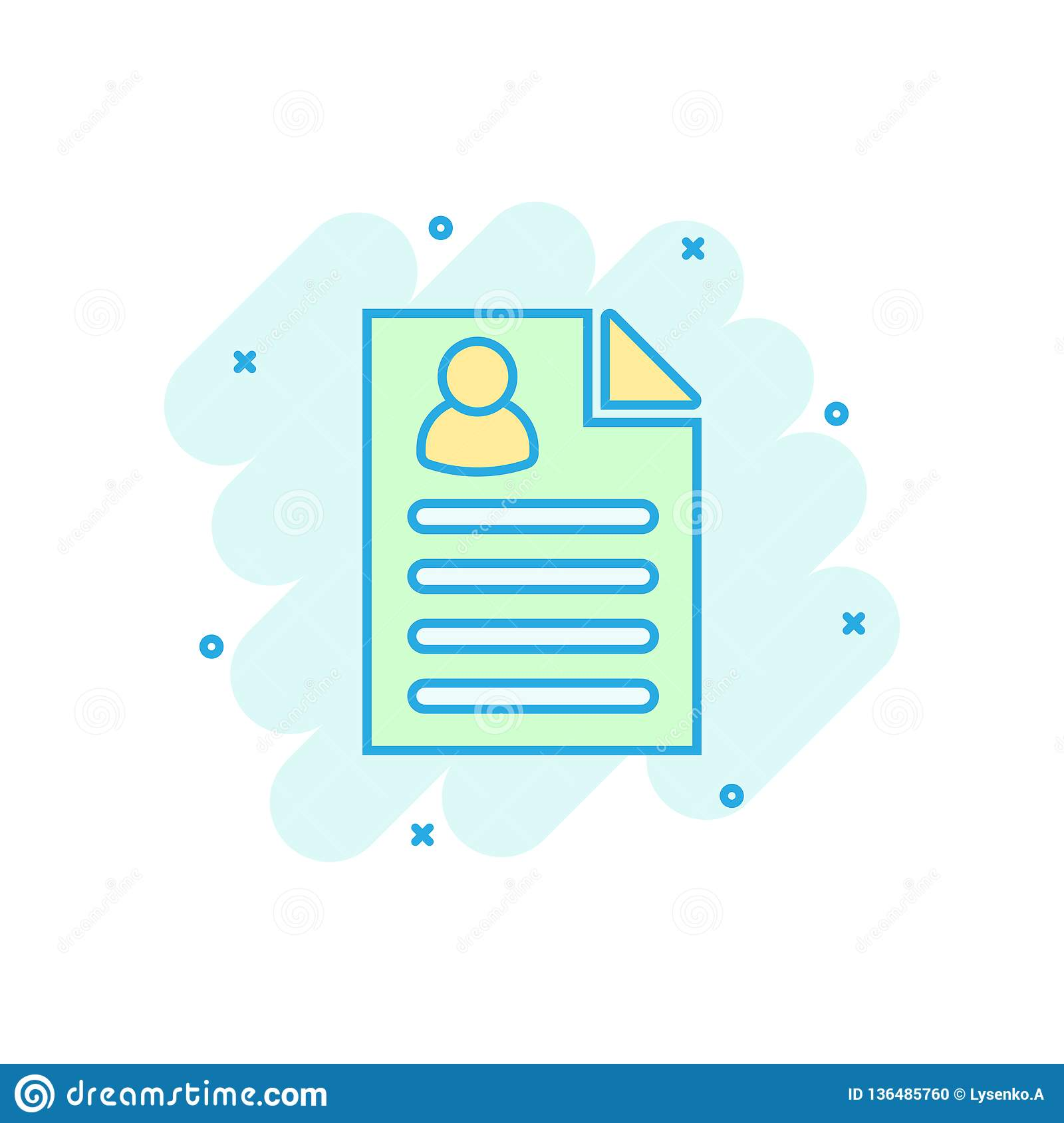 resume icon in comic style  contract document vector cartoon illustration pictogram  resume