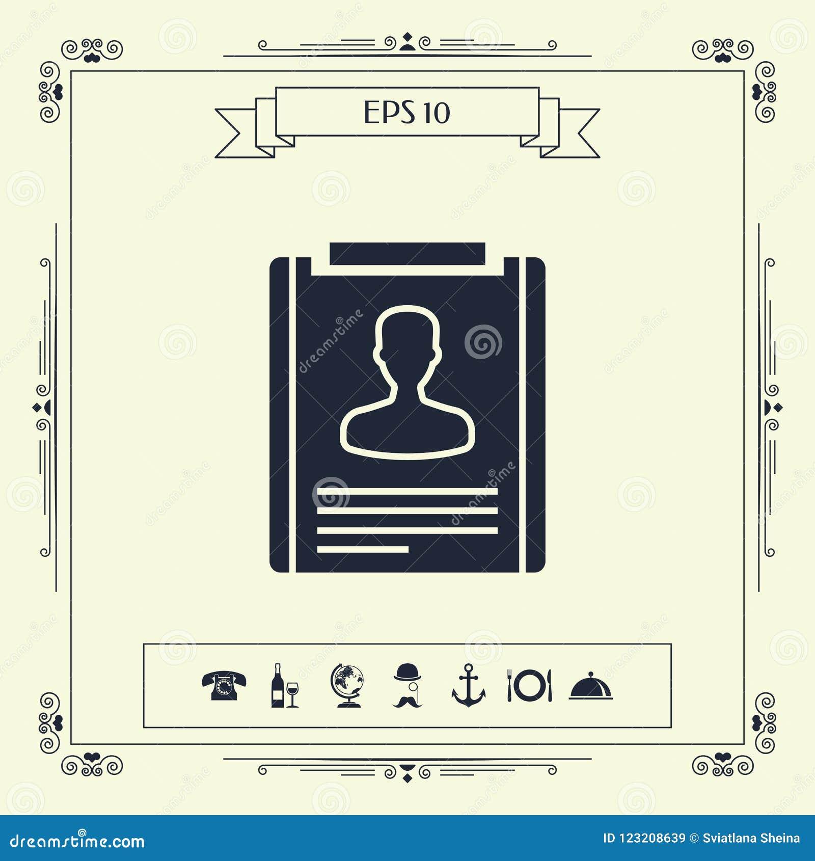 Resume icon symbol stock vector. Illustration of person - 123208639