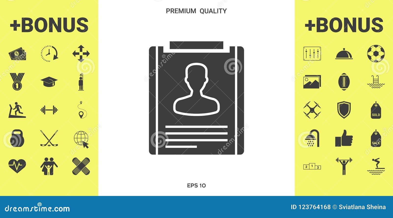 Resume icon symbol stock vector. Illustration of person - 123764168
