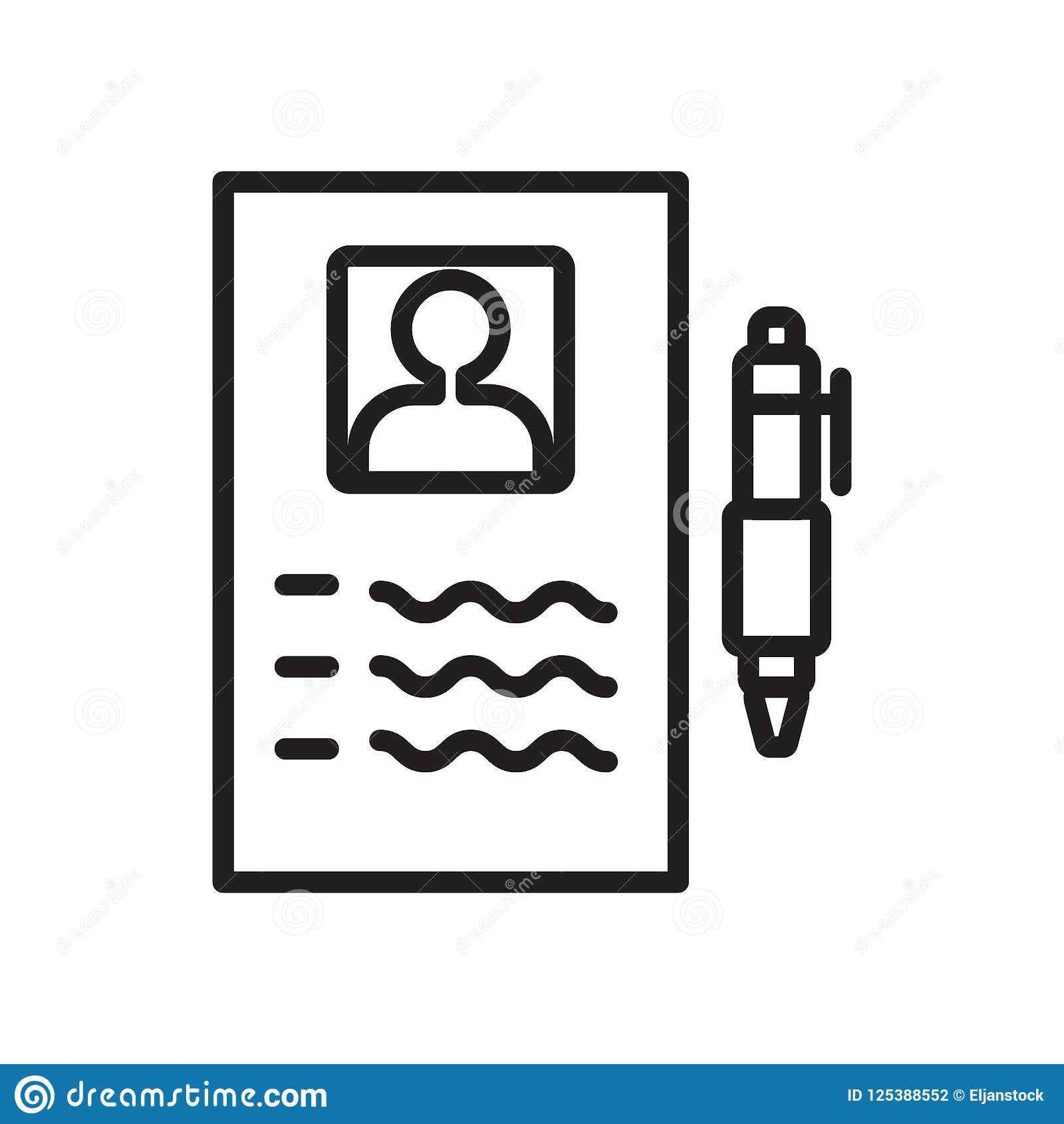 resume icon vector isolated on white background, resume sign stock