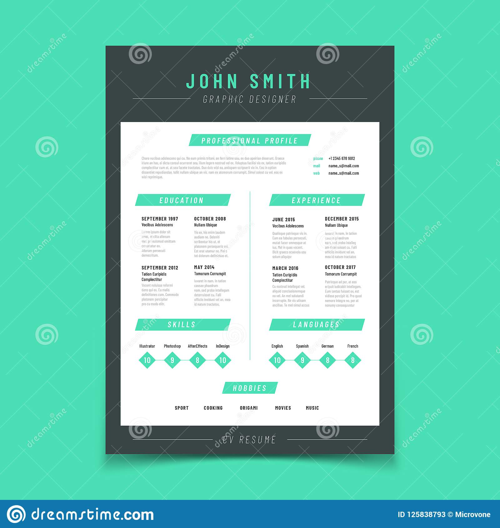 Resume Letter Personal Cv Sample With Professional Vitae And