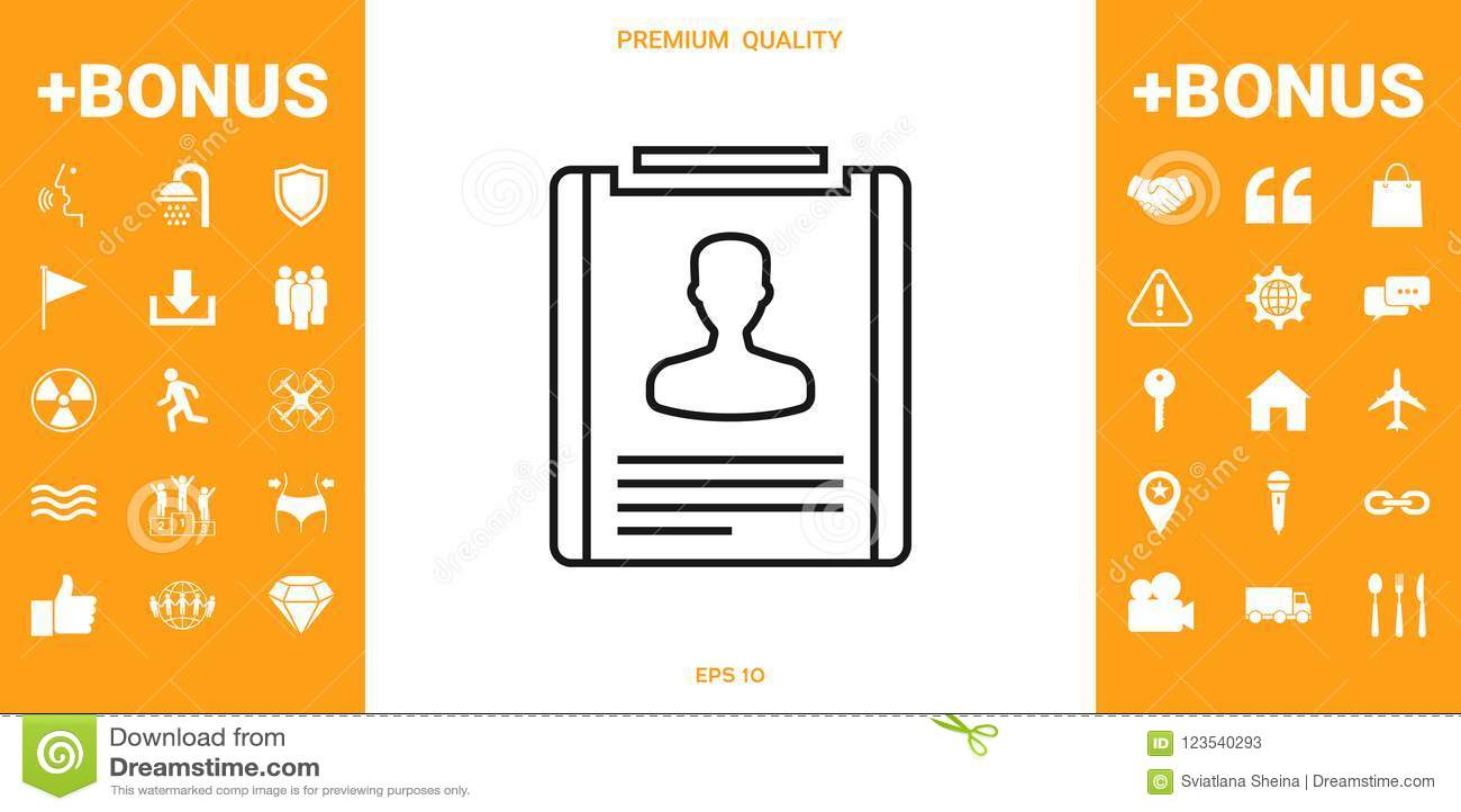 Resume line icon stock vector. Illustration of letter - 123540293
