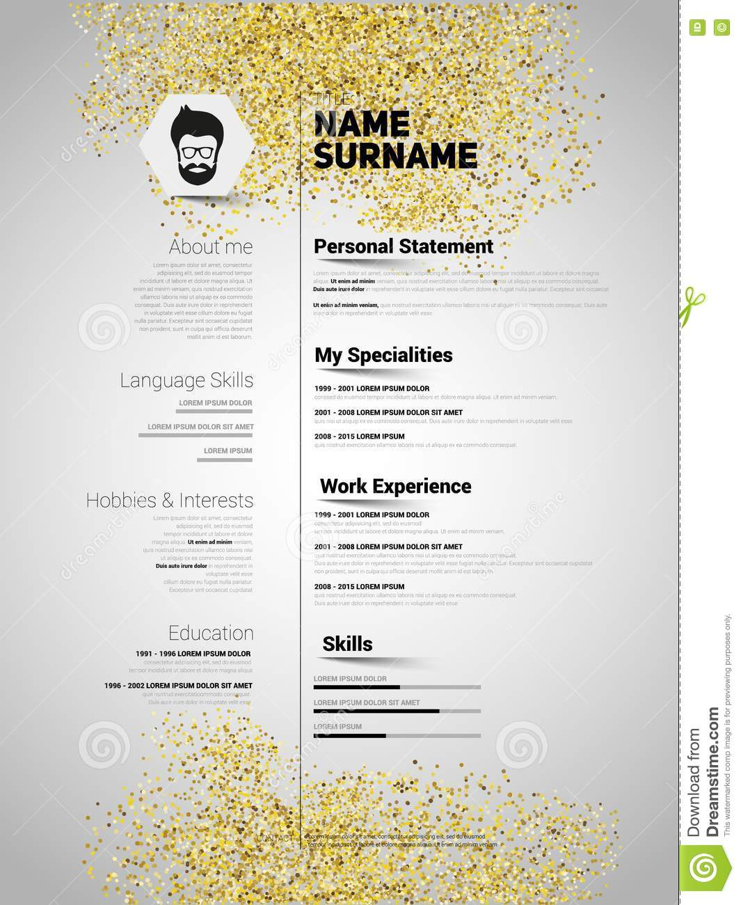 resume minimalist cv in gold glitter style  resume template with stock illustration