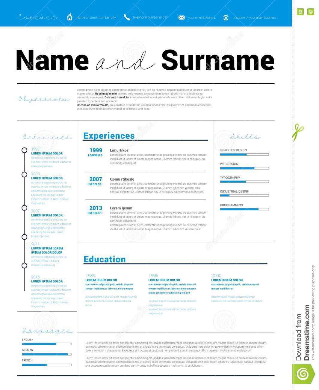 minimalist cv resume template stock photo cartoondealer