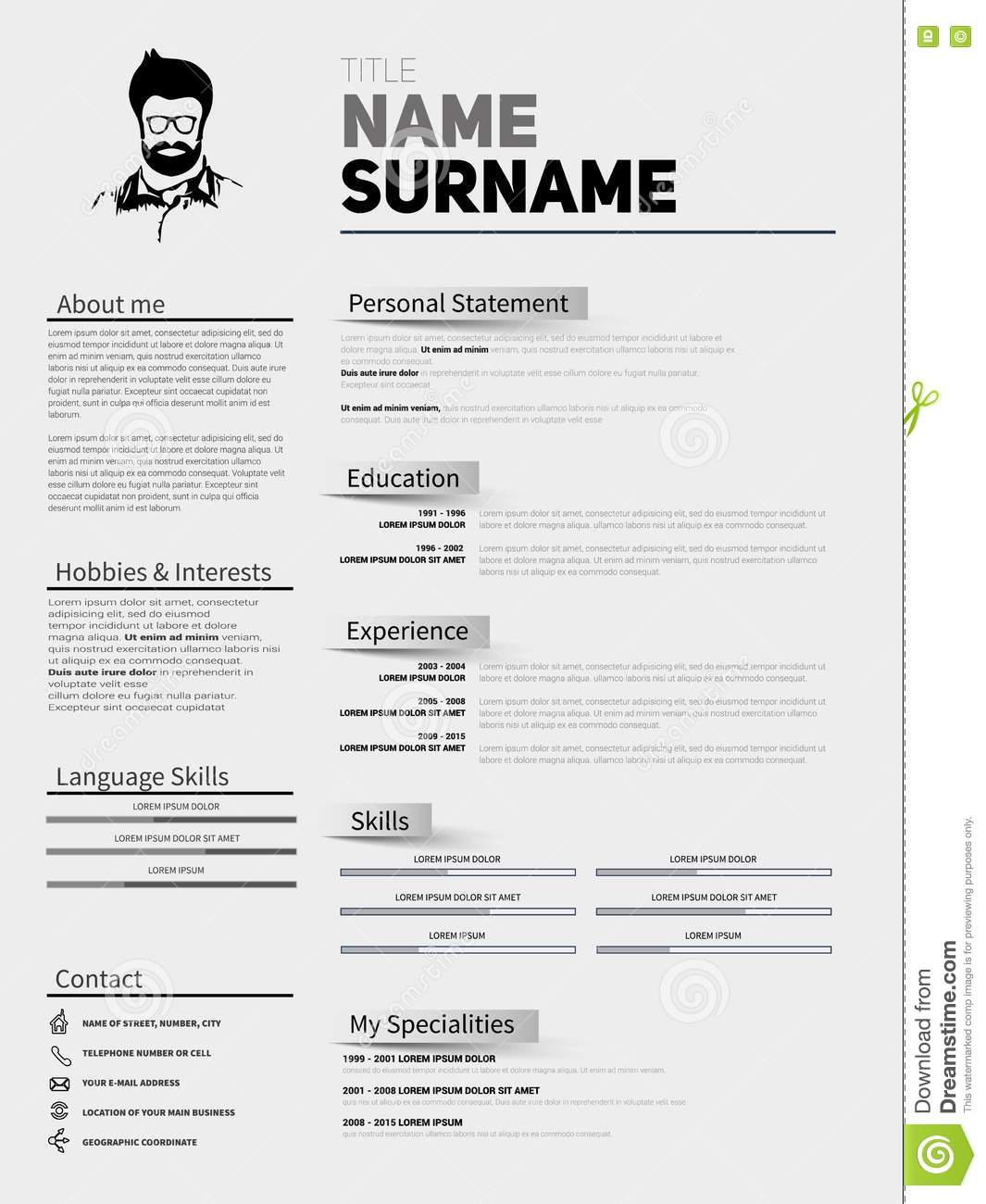 resume minimalist cv  resume template with simple design
