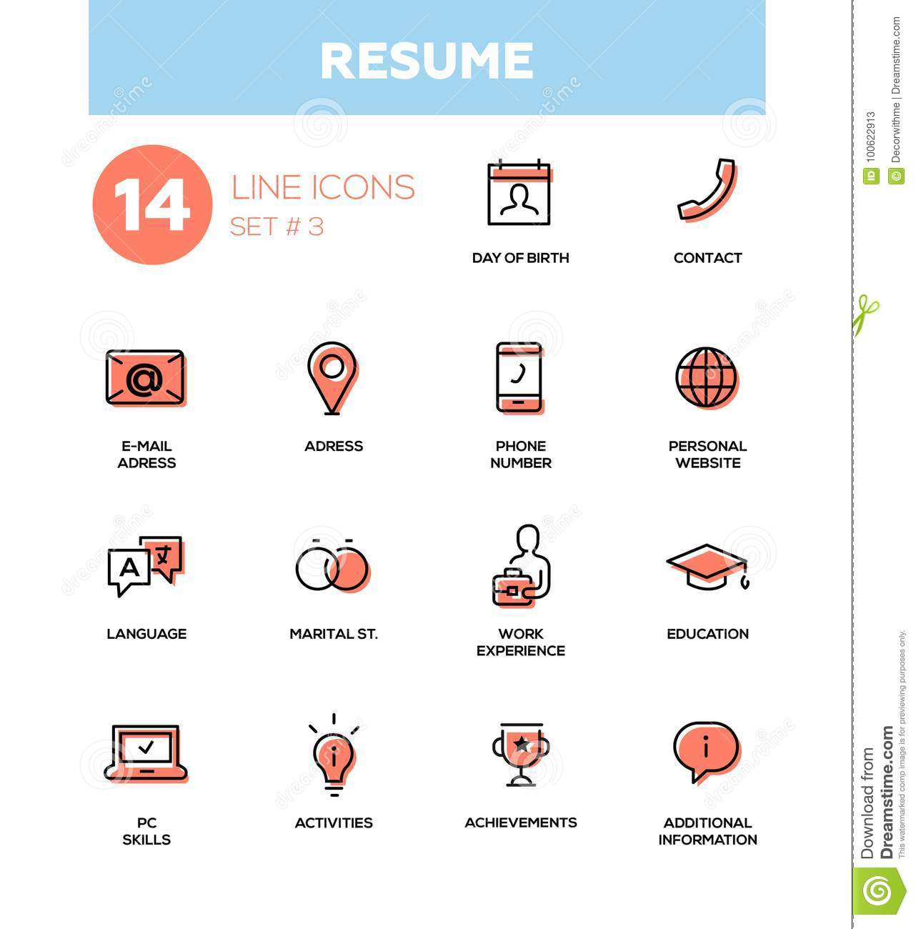 resume - modern simple thin line design icons  pictograms set stock vector