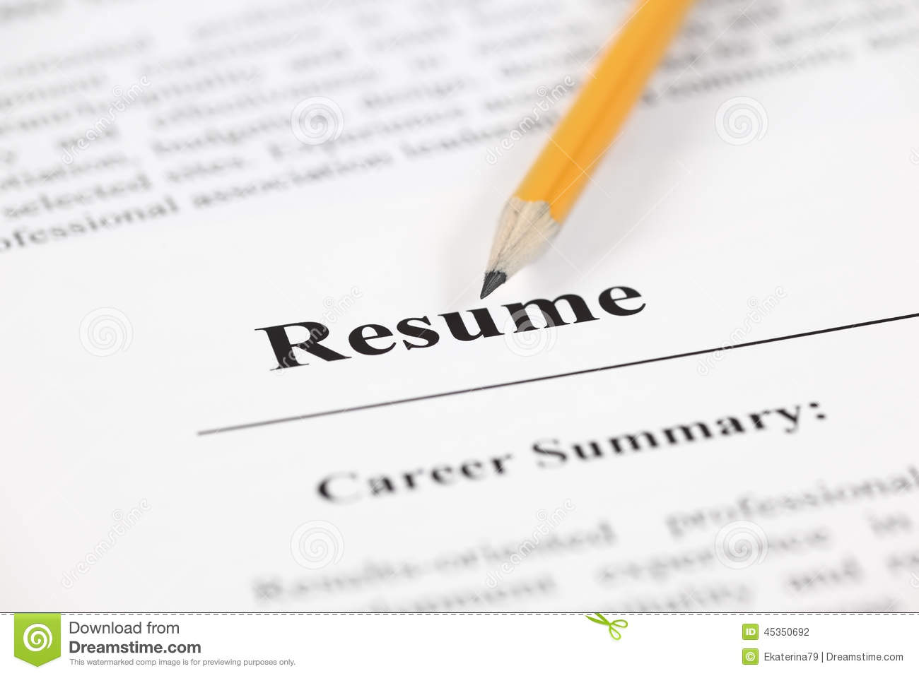 resume stock photo  image of pensil  unemployment  word