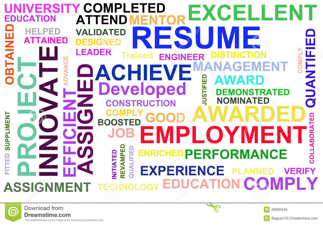 resume powerful words royalty free stock photo