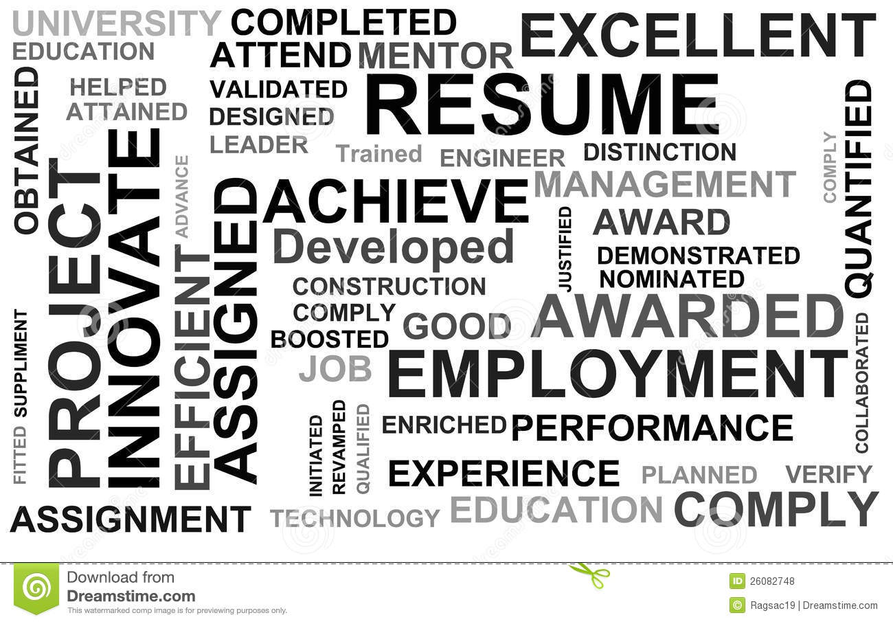 resume powerful words royalty free stock photos