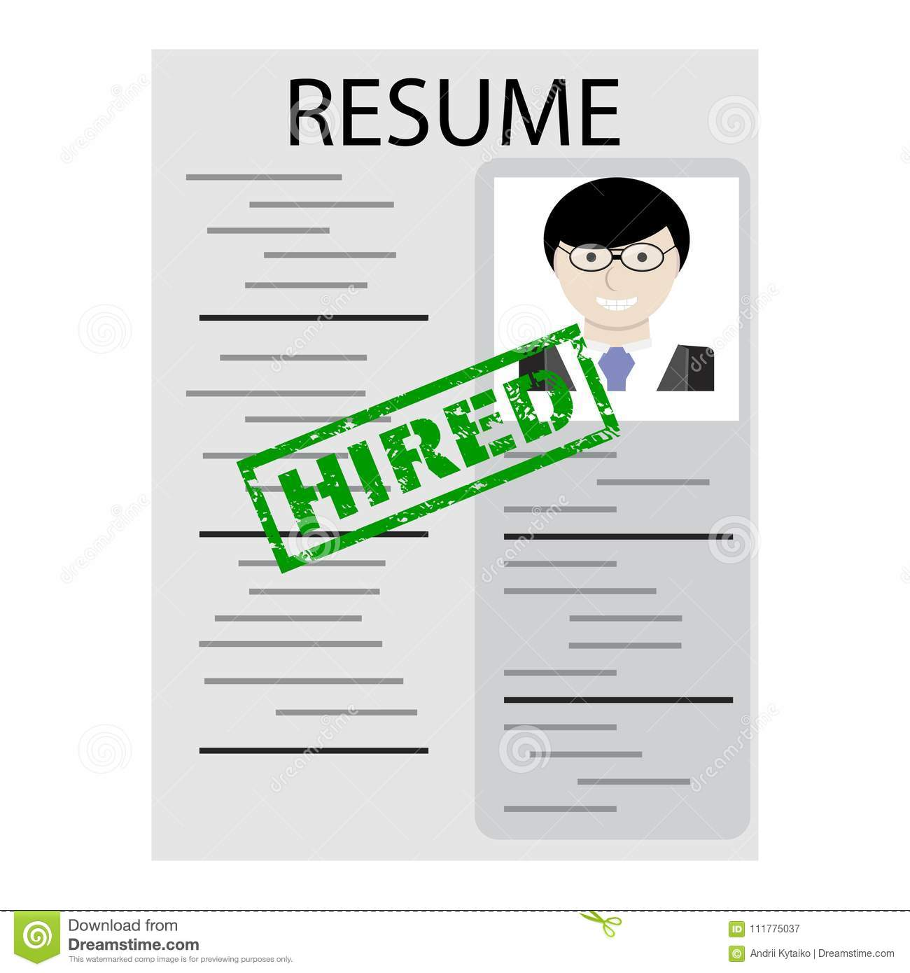 Resume with stamp hired