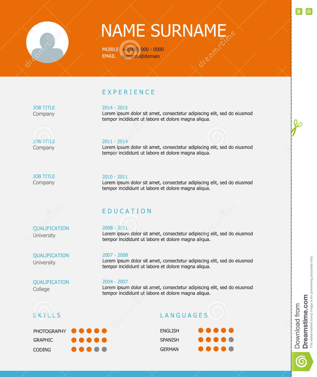 resume template design with orange blue headings stock