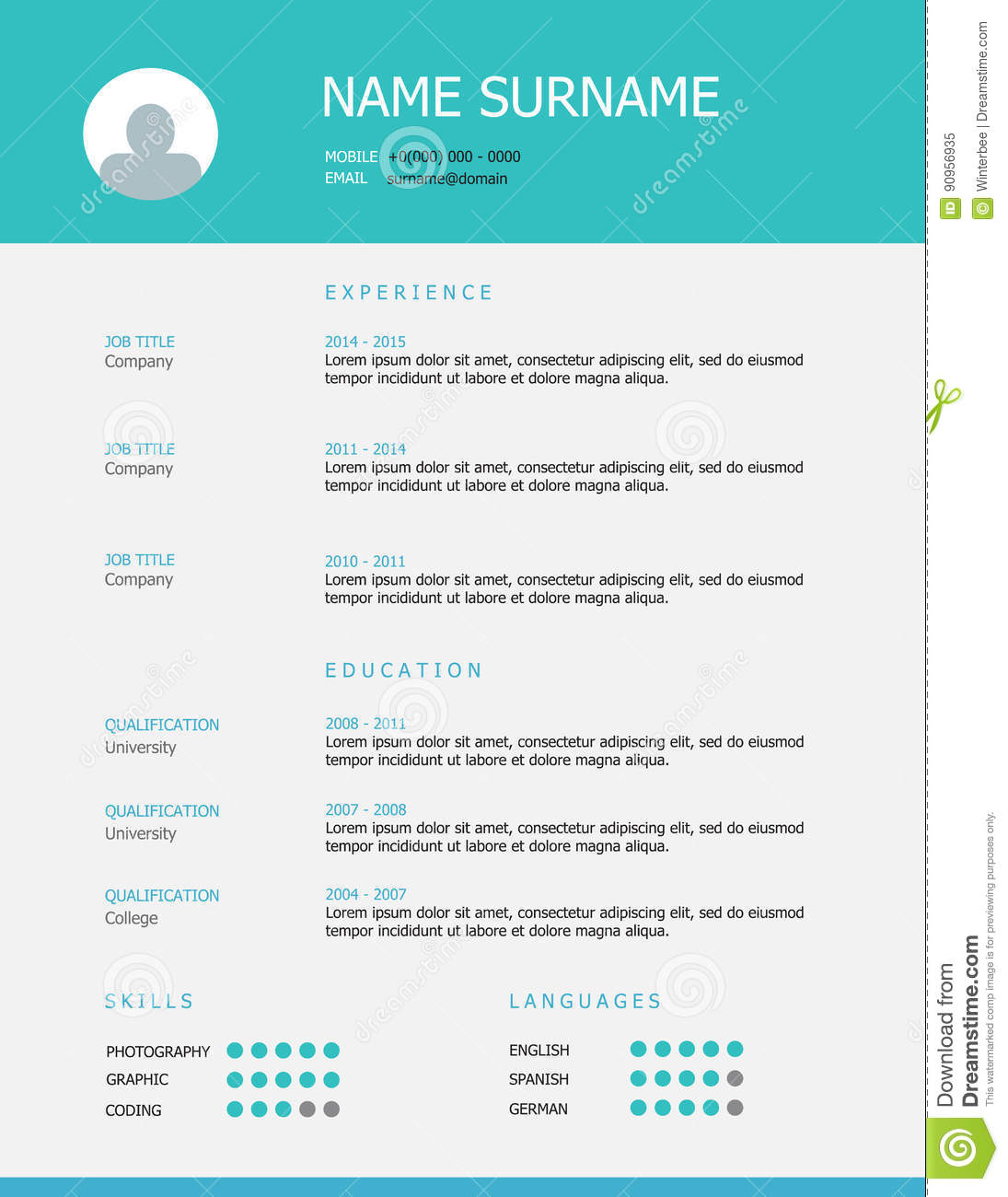 resume template design with teal blue headings stock