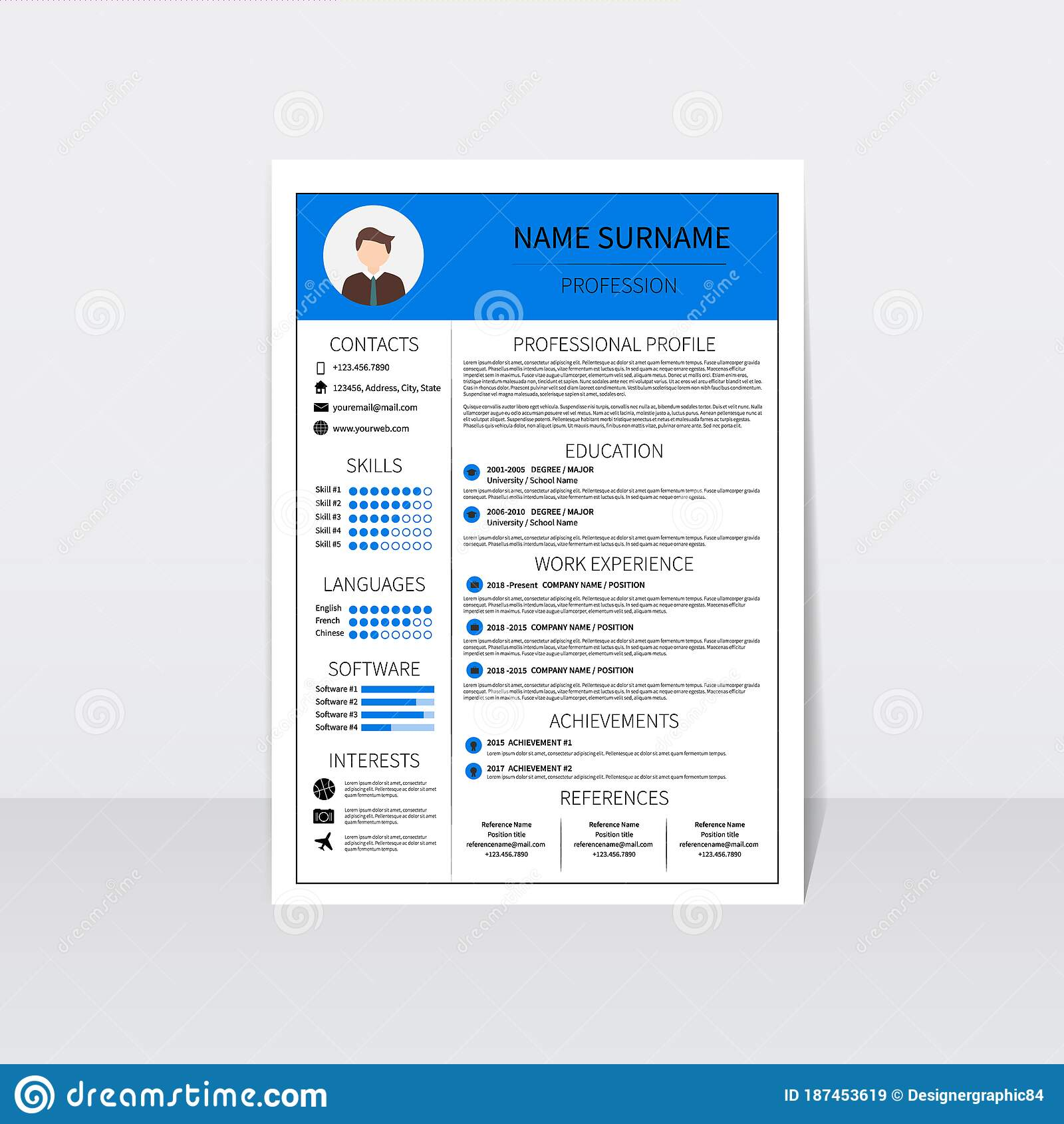 Modern Resume Template 2018 from thumbs.dreamstime.com