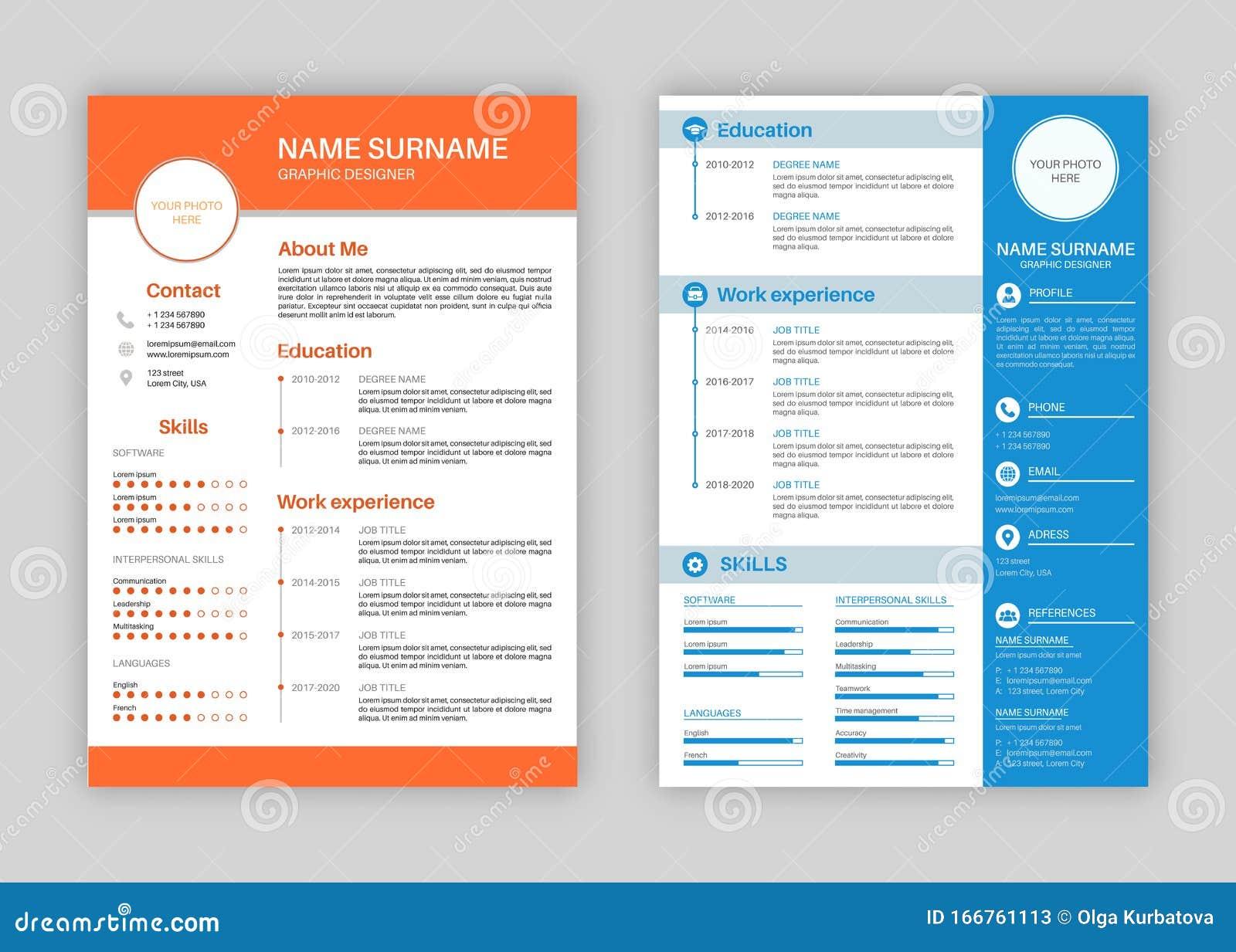 resume template  professional personal description profile  curriculum letterhead cover