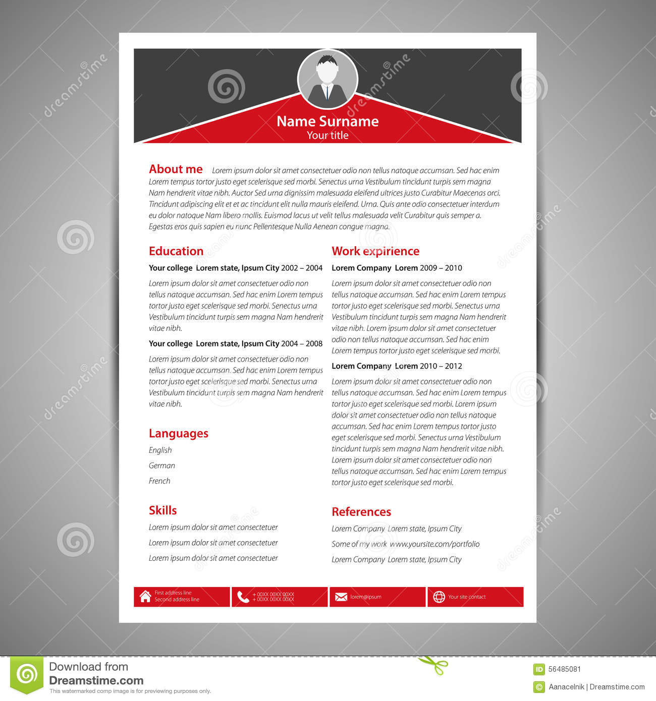 Resume Template Stock Vector Illustration Of Company 56485081
