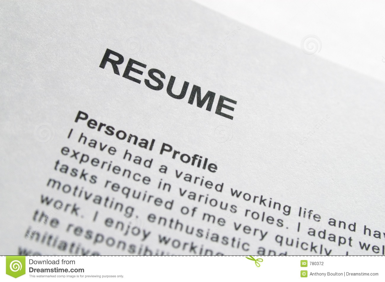 resume title page stock photography