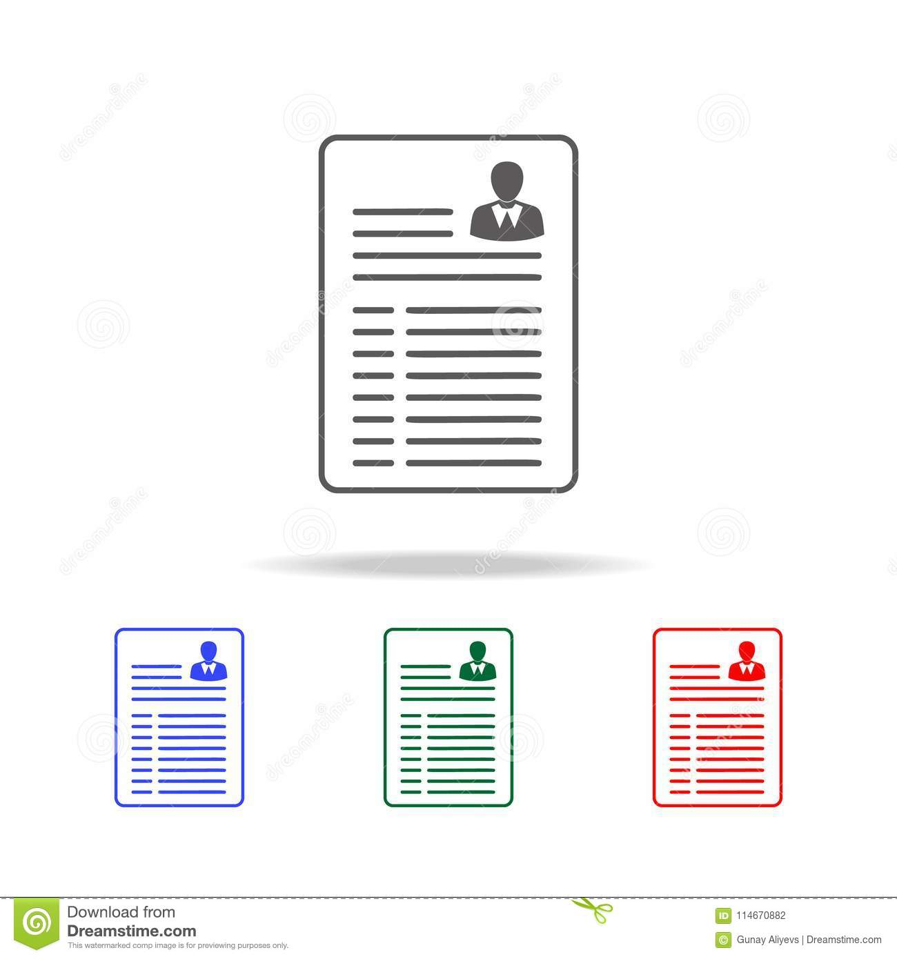 Resume Vector Icon Elements Of Human Resource In Multi Colored