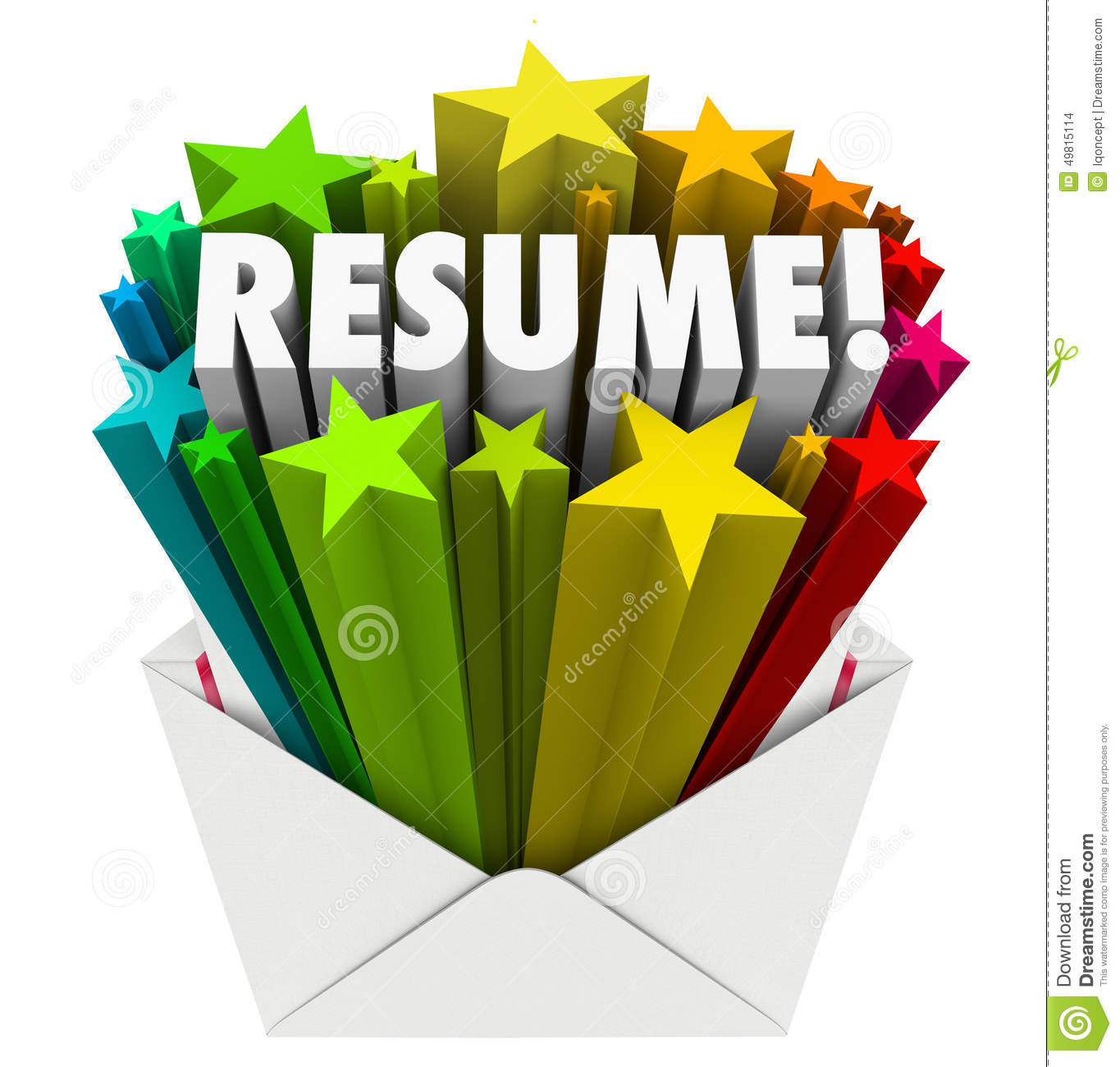 resume word stars open envelope promote your skills knowledge ex stock illustration