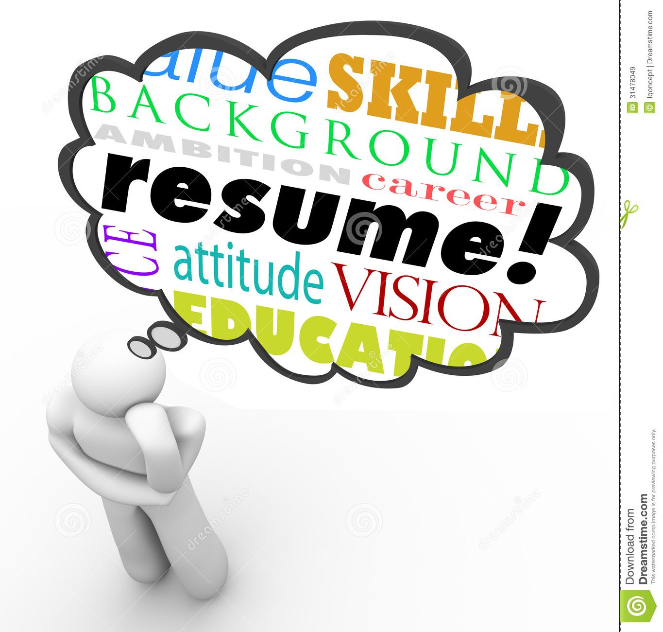 Resume Word Thought Cloud Bubble Man Thinking Experience Stock