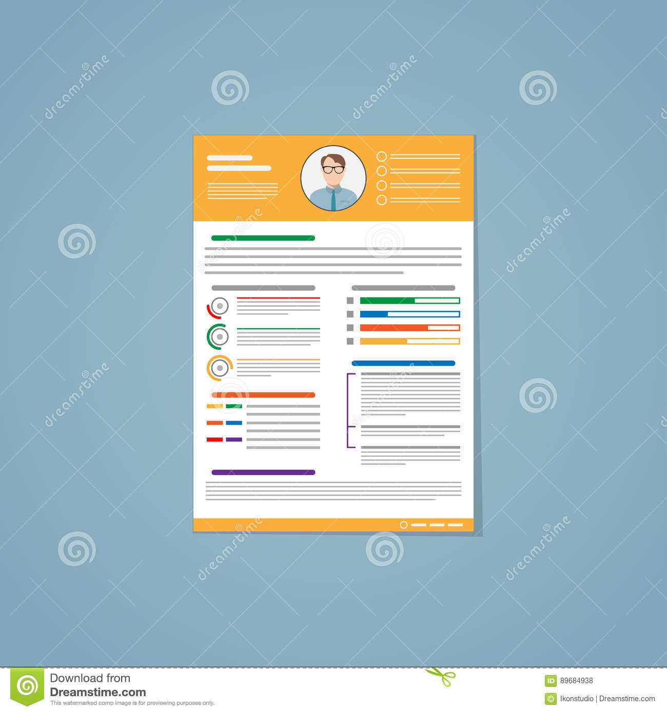 Resume Yellow Stock Vector Illustration Of Flat Form