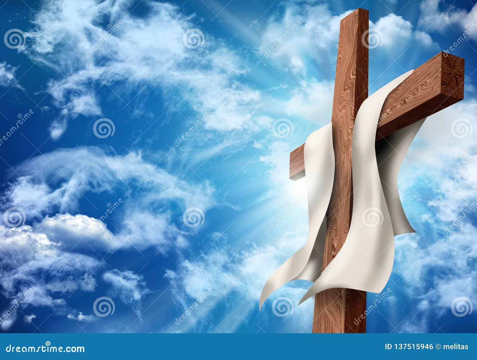 Resurrezione o crocifissione Concetto di Christian Easter Incrocio di legno sul fondo del cielo con le nuvole illustrazione 3D