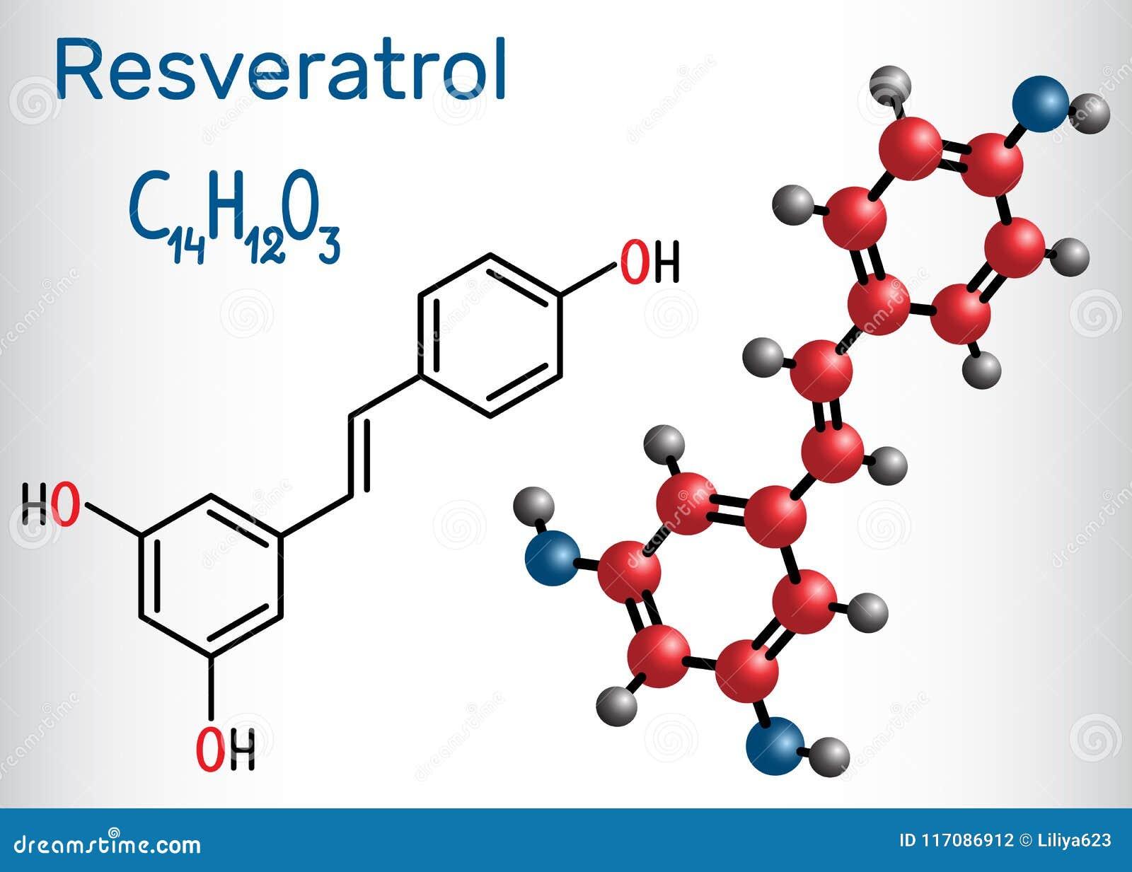 Resveratrolmolekül Es ist natürliches Phenol, Phytoalexin, antioxi