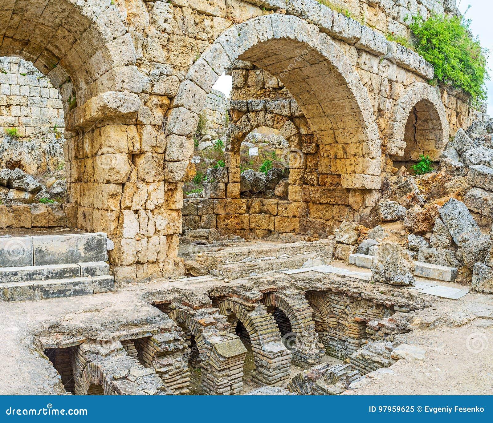 Resztki Romańscy skąpania w Perge