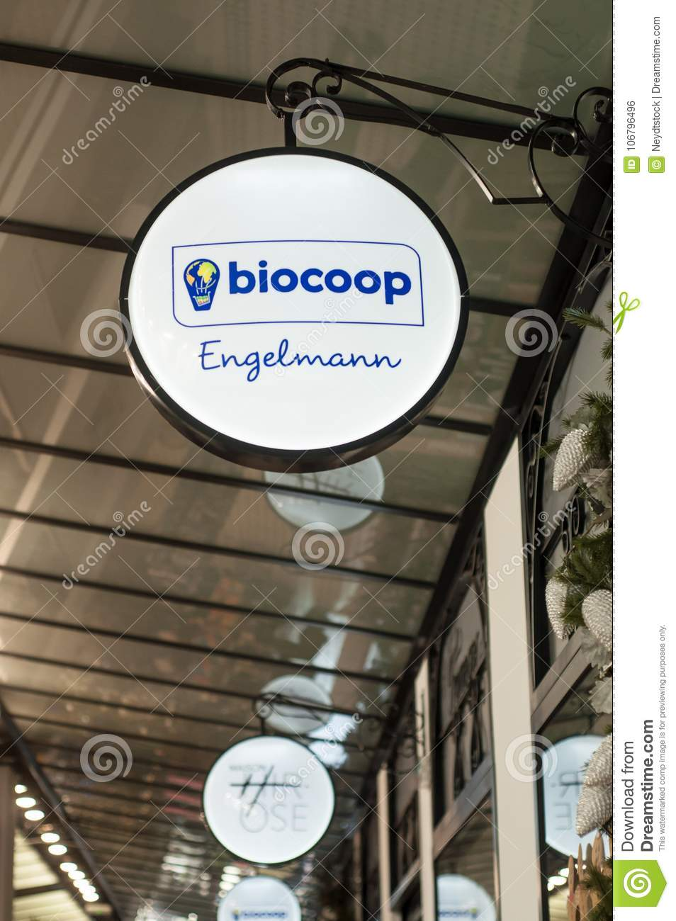 retail of biocoop sign, the famous natural food store in Engelmann gallery