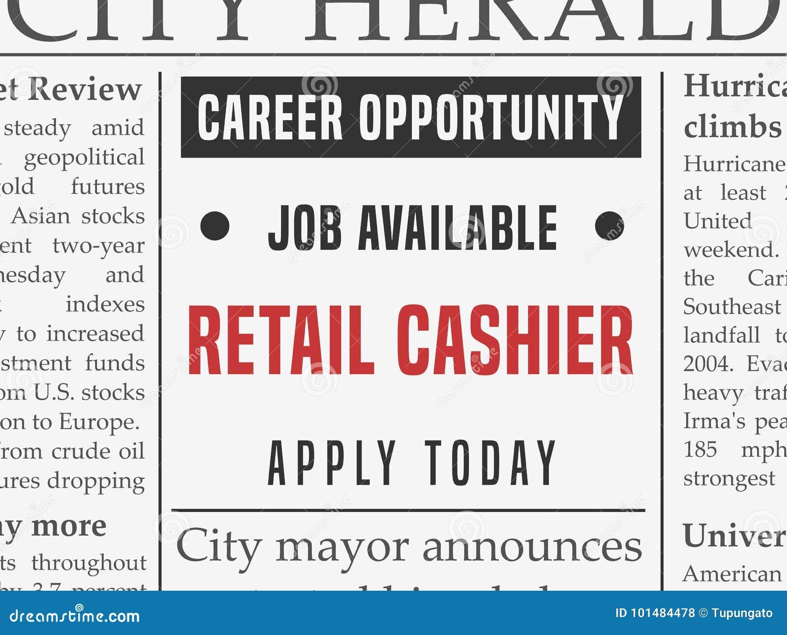 retail cashier job stock vector  illustration of media