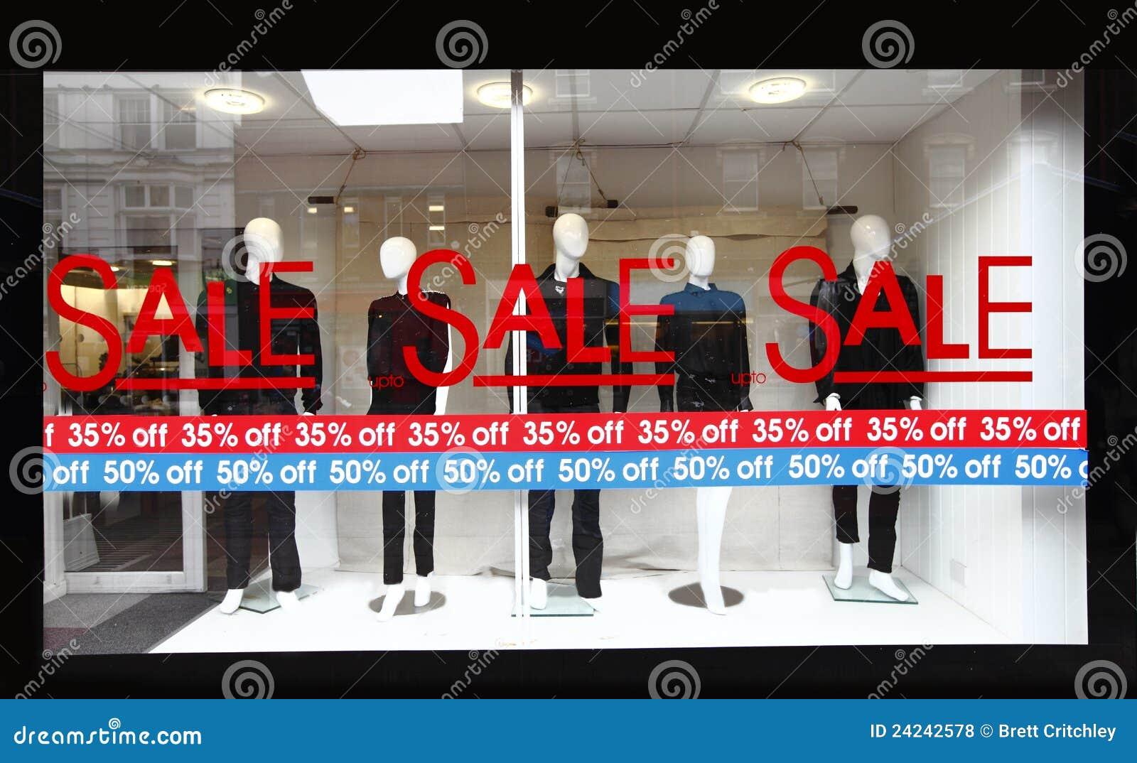 Retail shop window sale sign