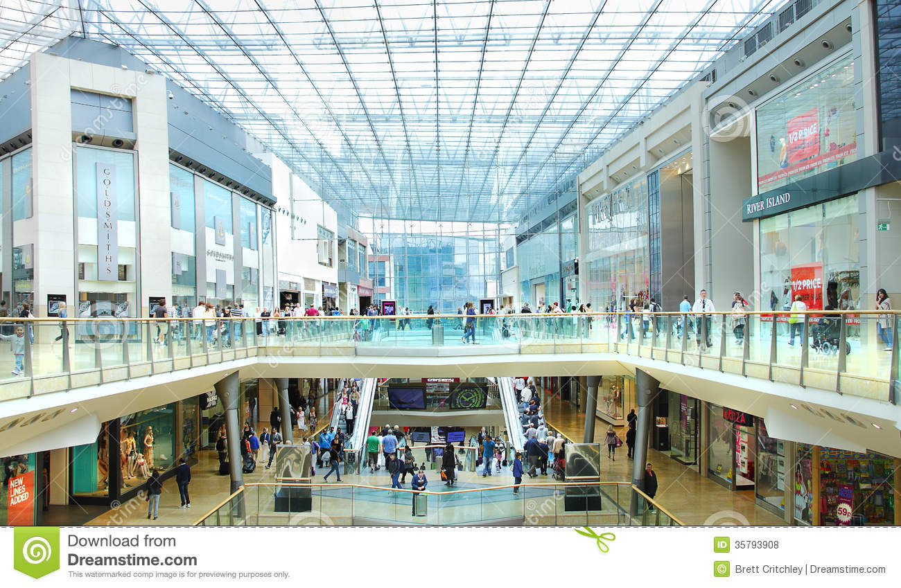 Busy retail shopping mall