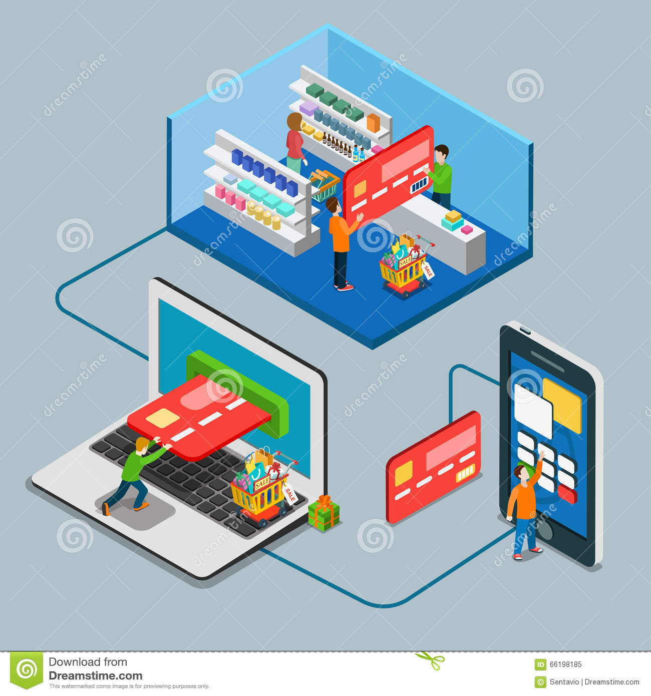 Retail supermarket store shop payment flat 3d vector for 3d flat design online