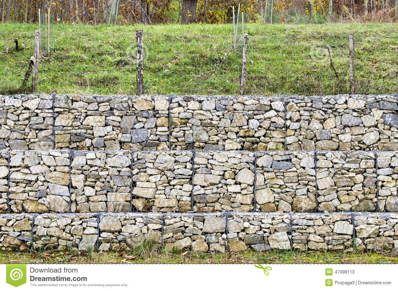 retaining wall gabion stock image image of gabion embankment 47098113. Black Bedroom Furniture Sets. Home Design Ideas