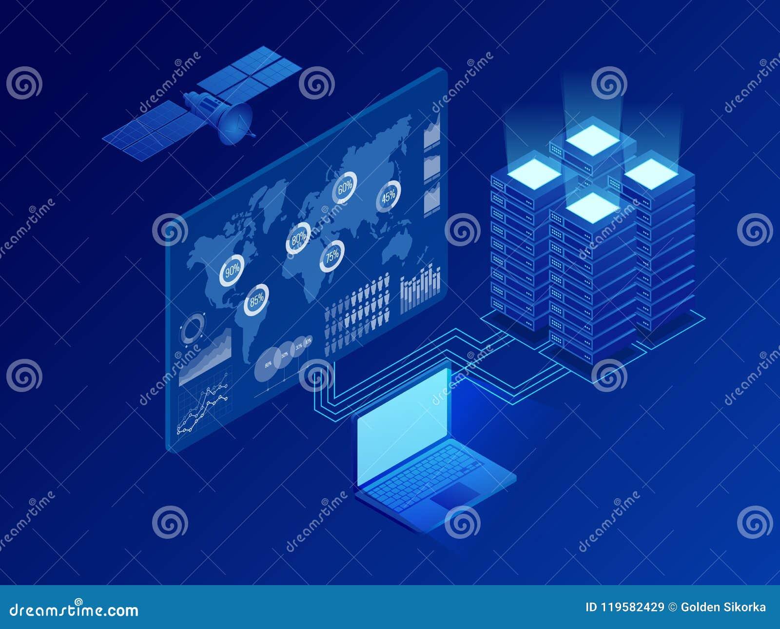 Rete digitale di informazioni globali isometriche, grande elaborazione dei dati, stazione di futuro, scaffale della stanza del se
