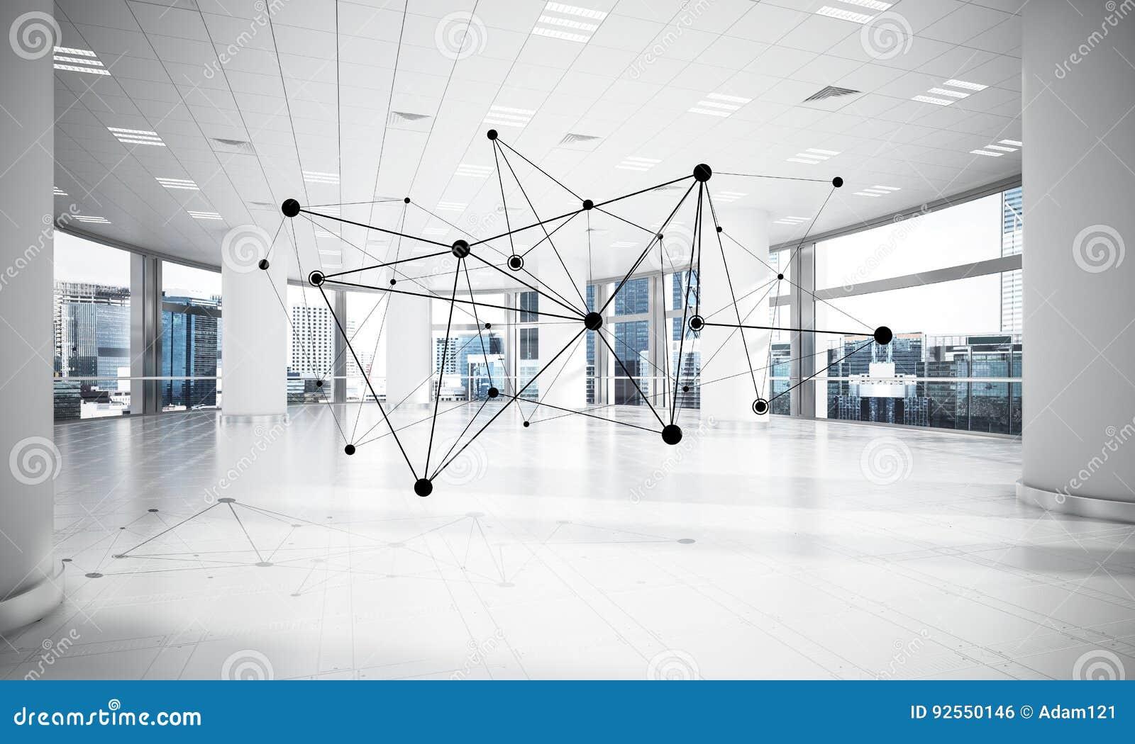 Rete e collegamento senza fili come concetto per l efficace modo