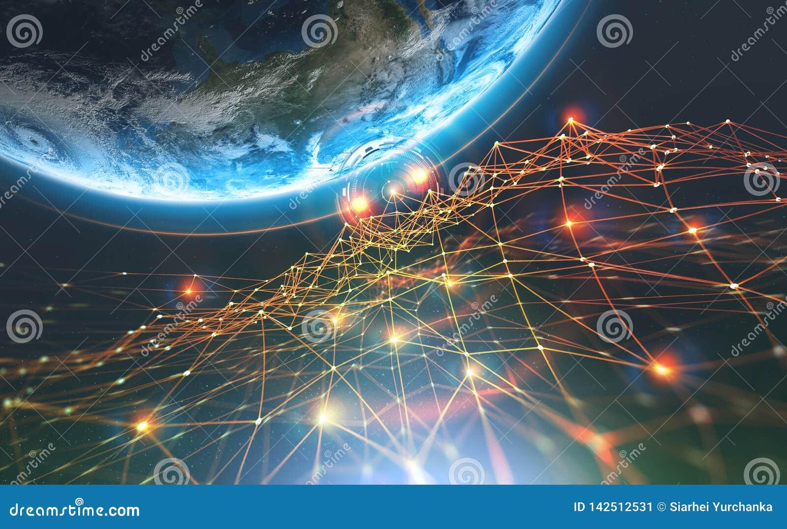 Rete e pianeta Terra della catena di blocco Intelligenza artificiale Base di dati decentralizzata globale
