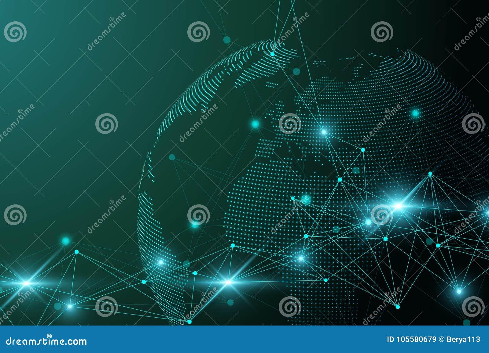 Rete e pianeta Terra eccessivo dello scambio dei dati nello spazio Comunicazione grafica virtuale del fondo con il globo del mond