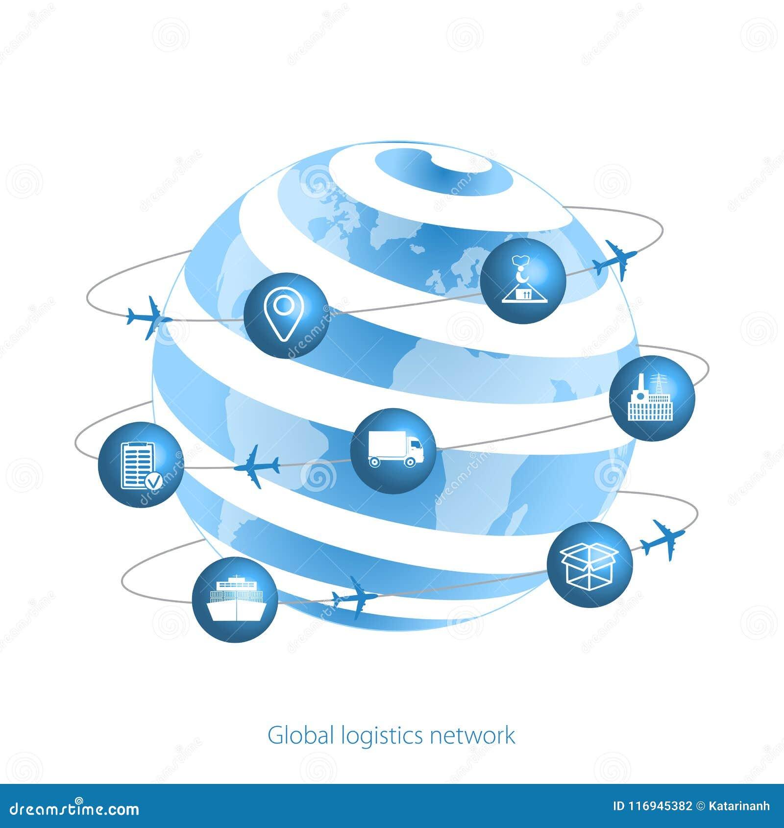 Rete globale di logistica Icone di logistica e del pianeta Terra sotto forma di satelliti Fissi il trasporto e la logistica delle