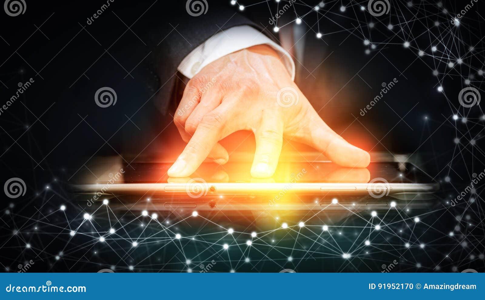 Rete sociale, affare di globalizzazione fondo di tecnologia ed uomo astratti di affari
